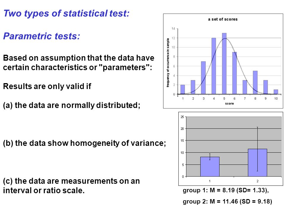 Two types of statistical test: Parametric tests: