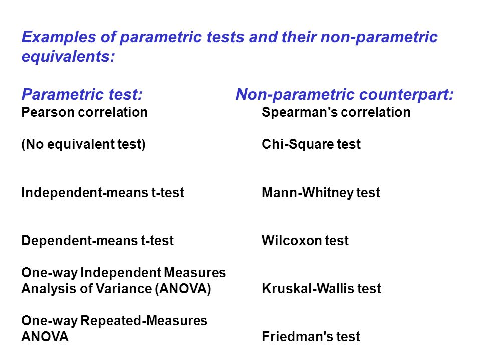 Examples of parametric tests and their non-parametric equivalents: