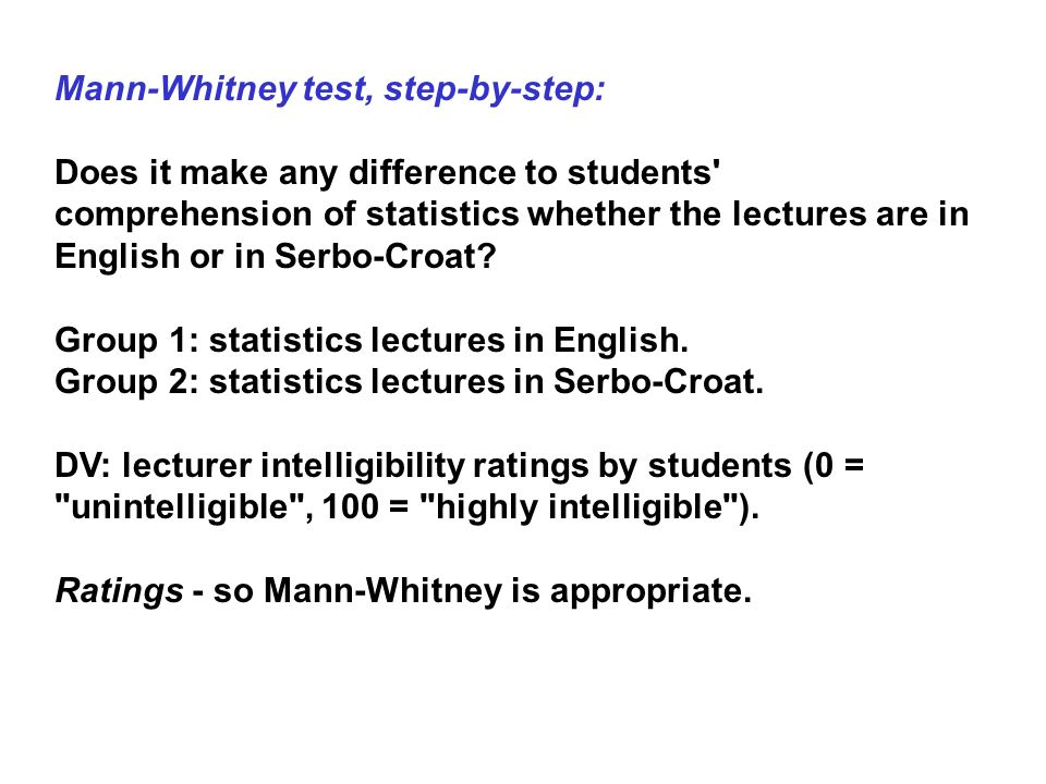 Mann-Whitney test, step-by-step: