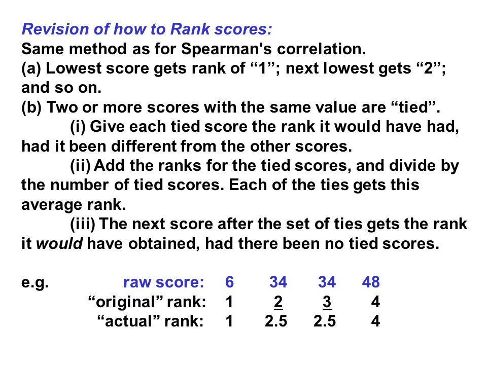 Revision of how to Rank scores: