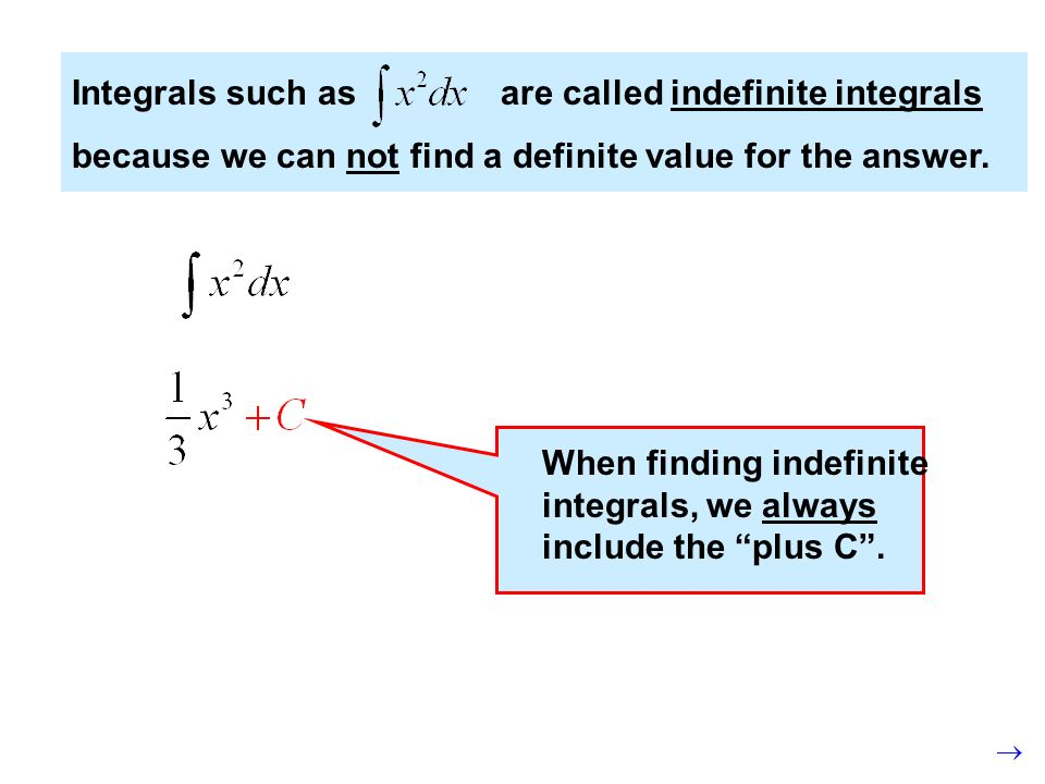 Integrals such as are called indefinite integrals because we can not find a definite value for the answer.