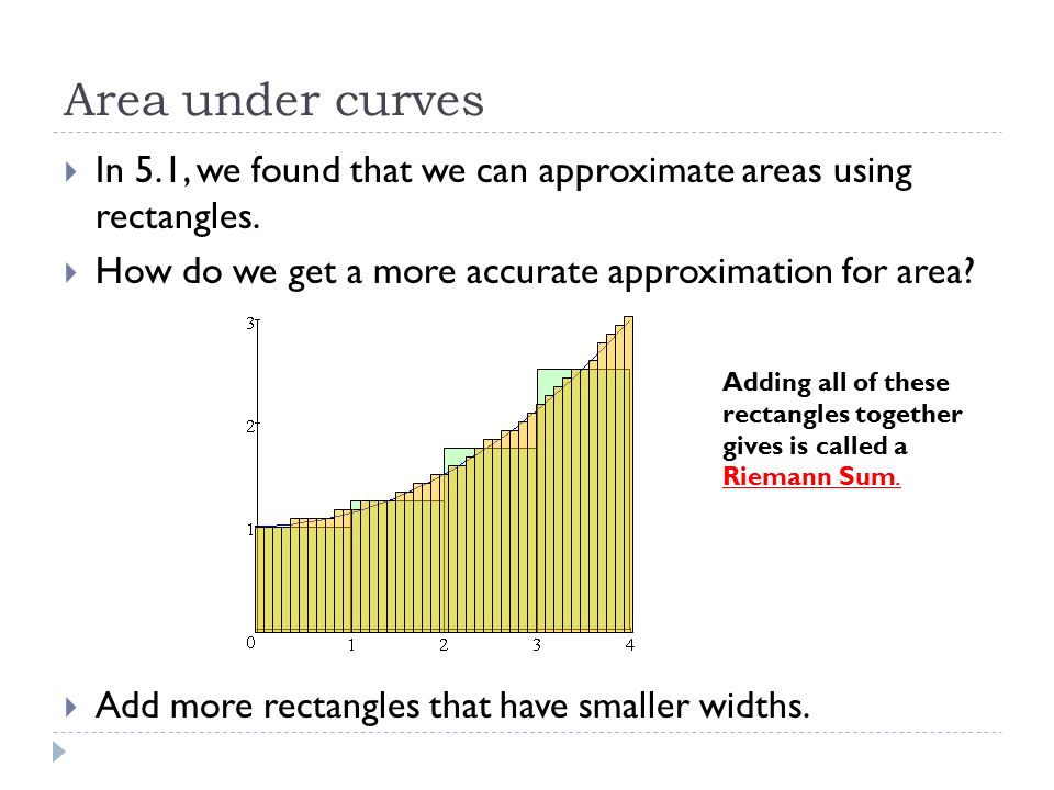 Area under curves In 5.1, we found that we can approximate areas using rectangles. How do we get a more accurate approximation for area