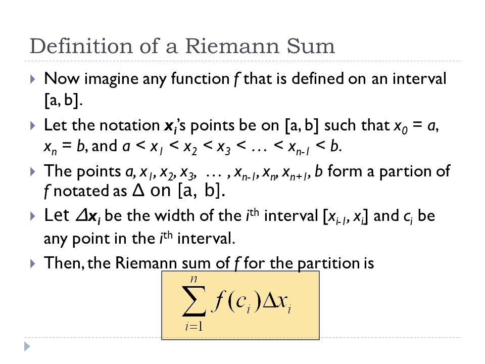 Definition of a Riemann Sum