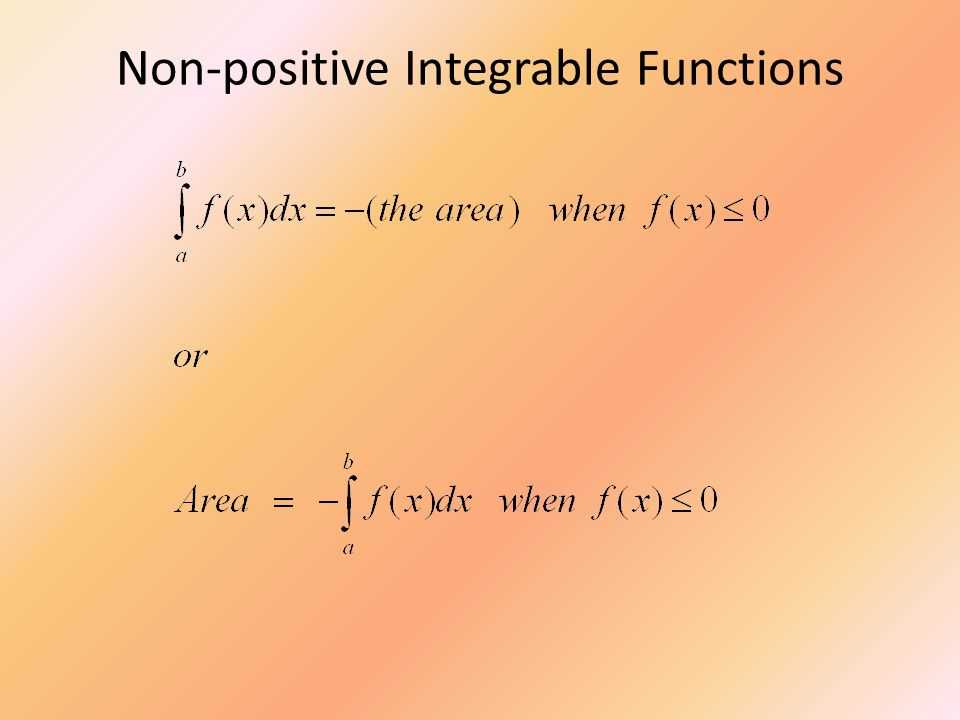 Non-positive Integrable Functions
