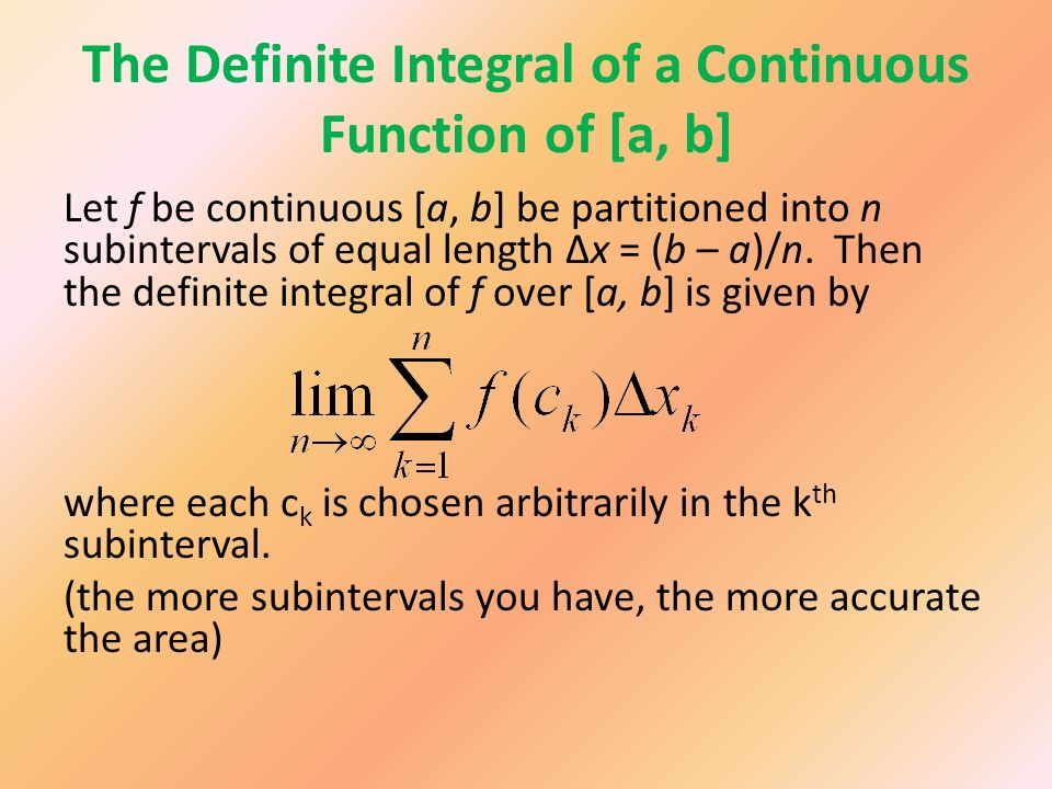 The Definite Integral of a Continuous Function of [a, b]