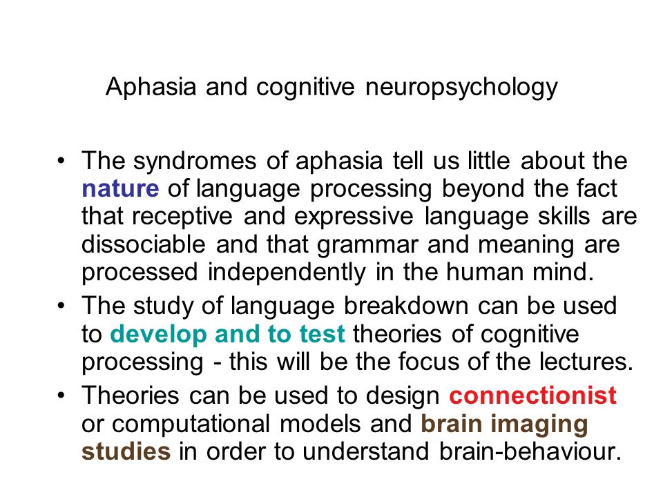 Aphasia and cognitive neuropsychology