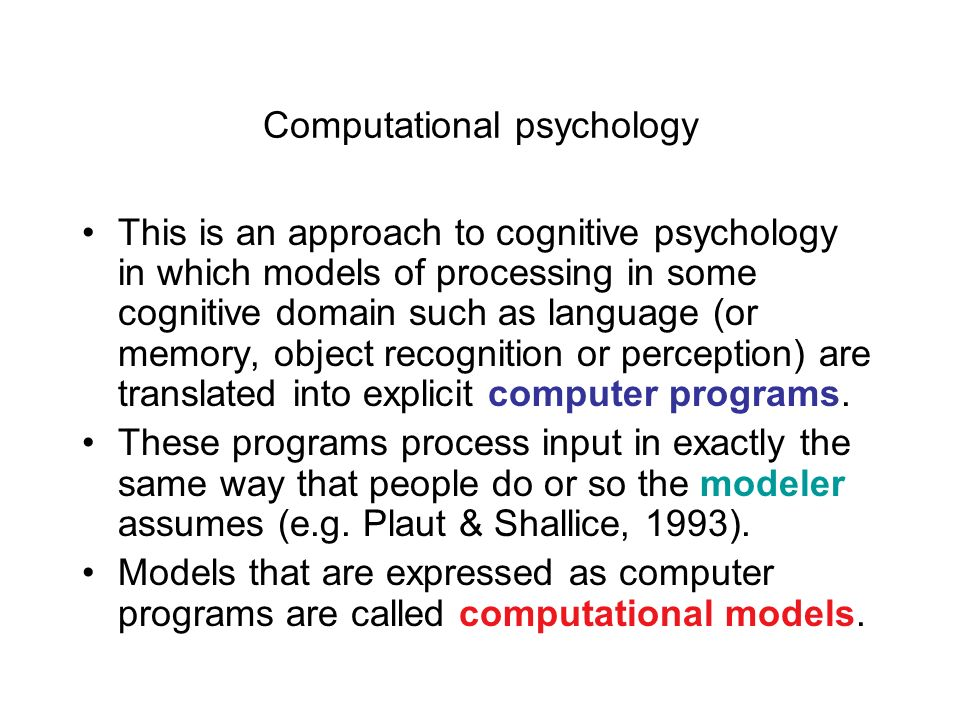 Computational psychology
