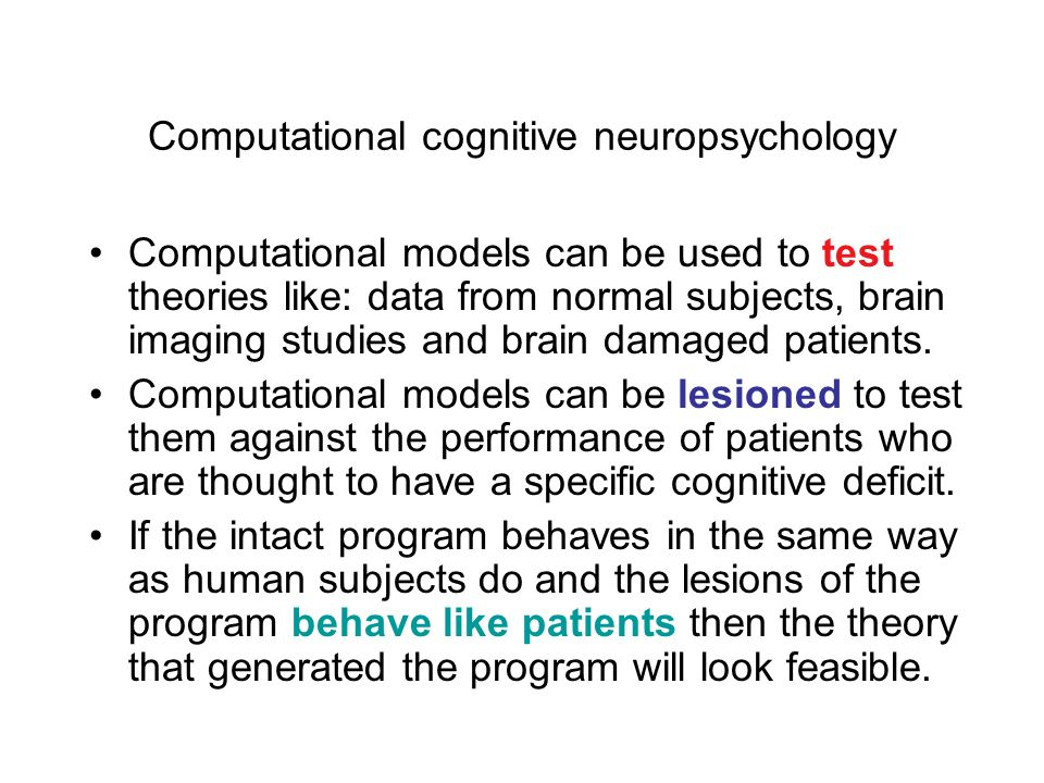 Computational cognitive neuropsychology