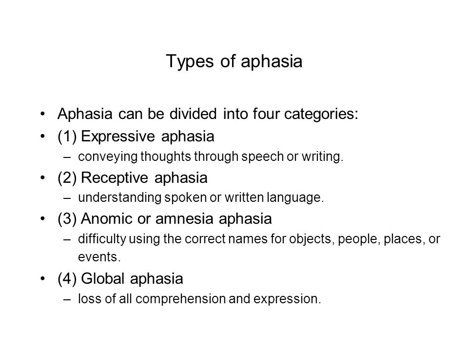 Types of aphasia Aphasia can be divided into four categories: