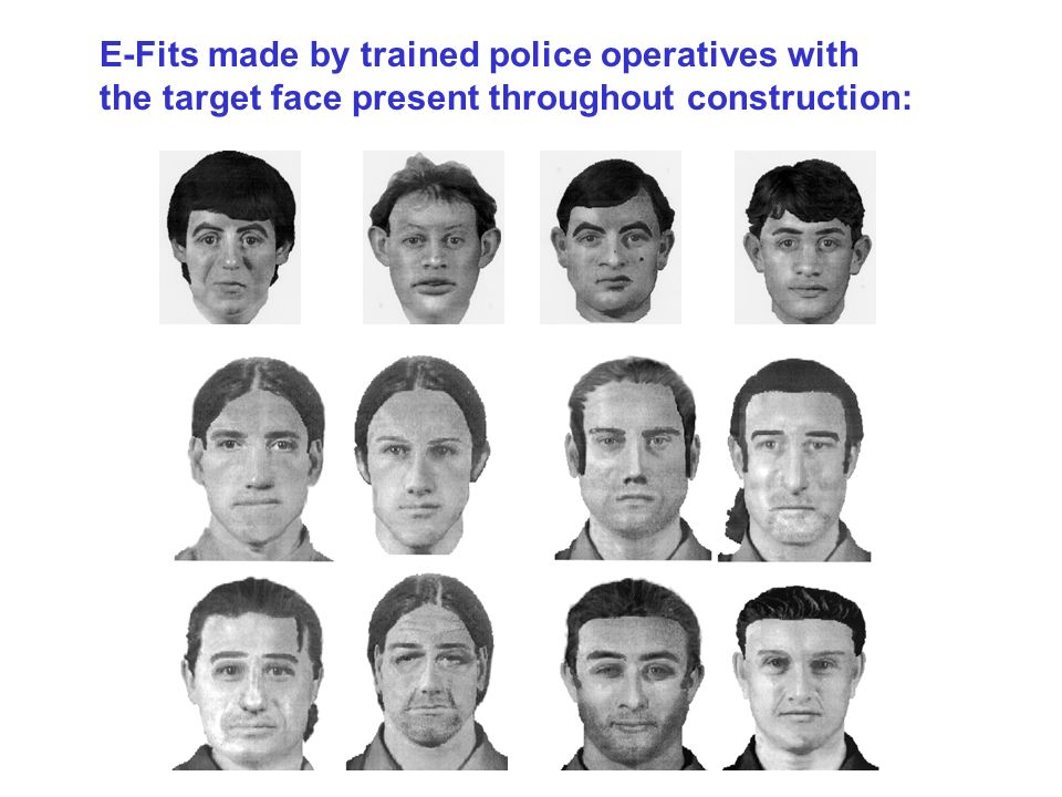 E-Fits made by trained police operatives with the target face present throughout construction: