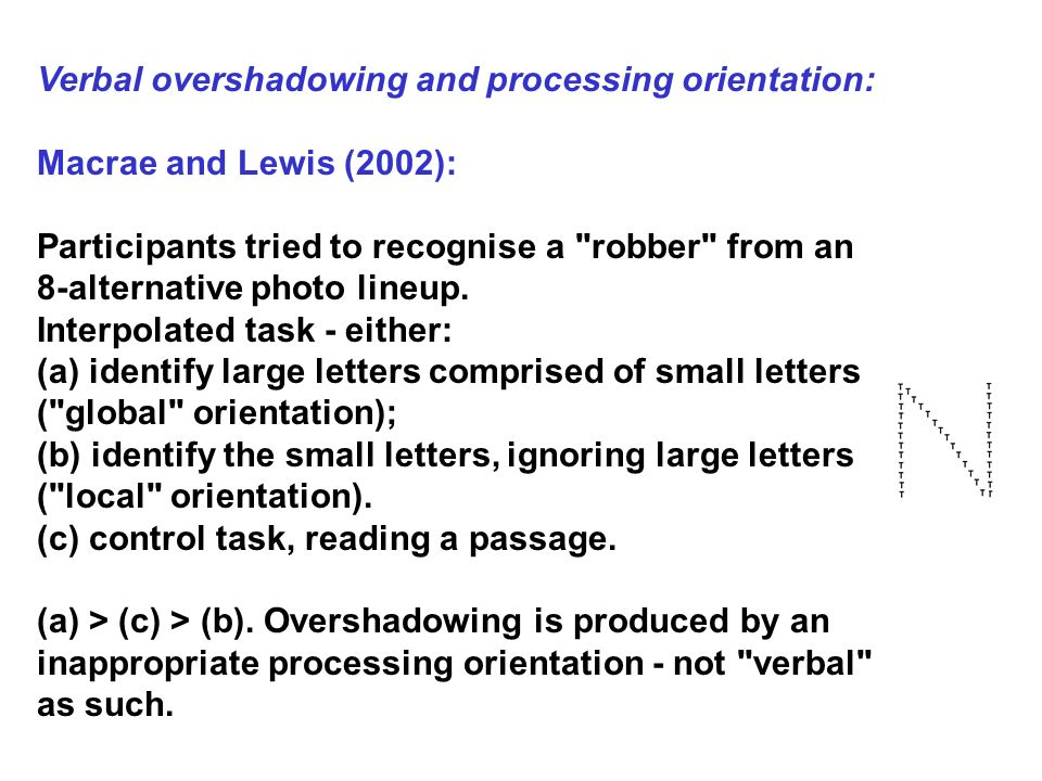 Verbal overshadowing and processing orientation:
