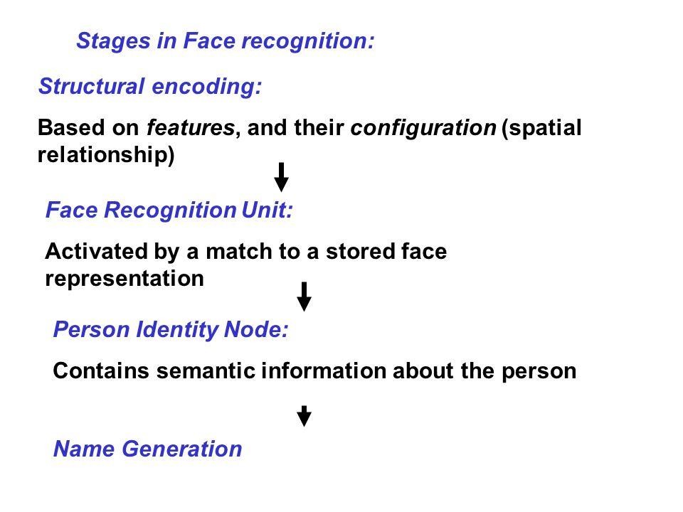 Stages in Face recognition:
