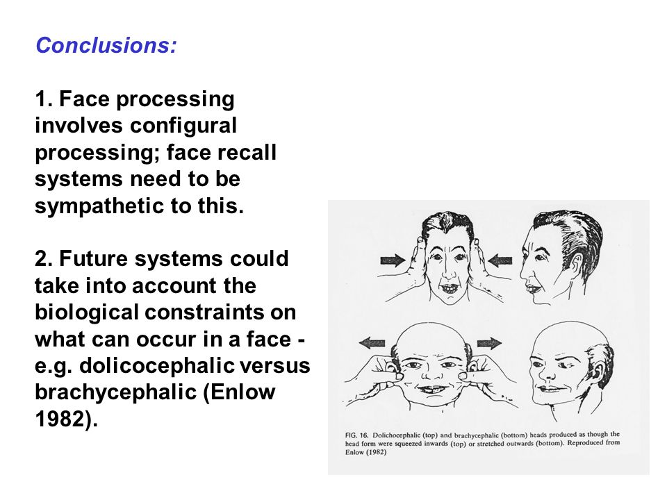 Conclusions: 1. Face processing involves configural processing; face recall systems need to be sympathetic to this.