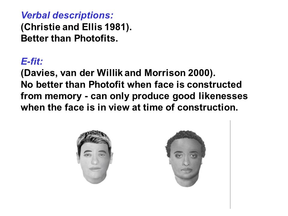 Verbal descriptions: (Christie and Ellis 1981). Better than Photofits. E-fit: (Davies, van der Willik and Morrison 2000).