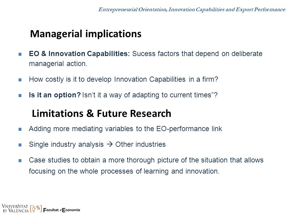Managerial implications Limitations & Future Research