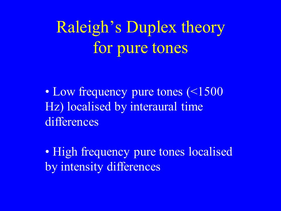Raleigh's Duplex theory for pure tones