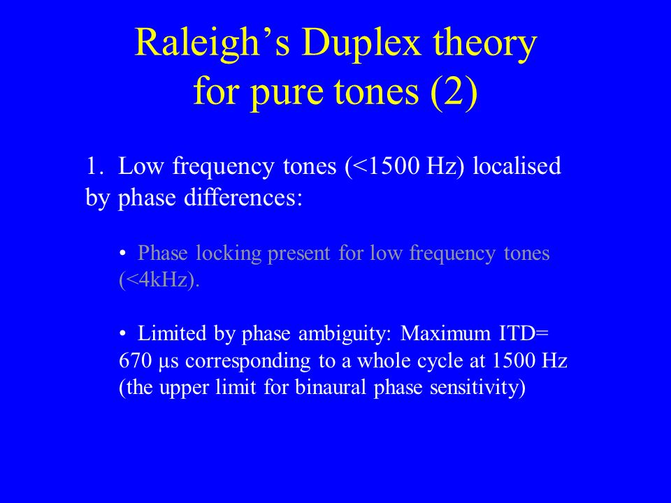 Raleigh's Duplex theory for pure tones (2)