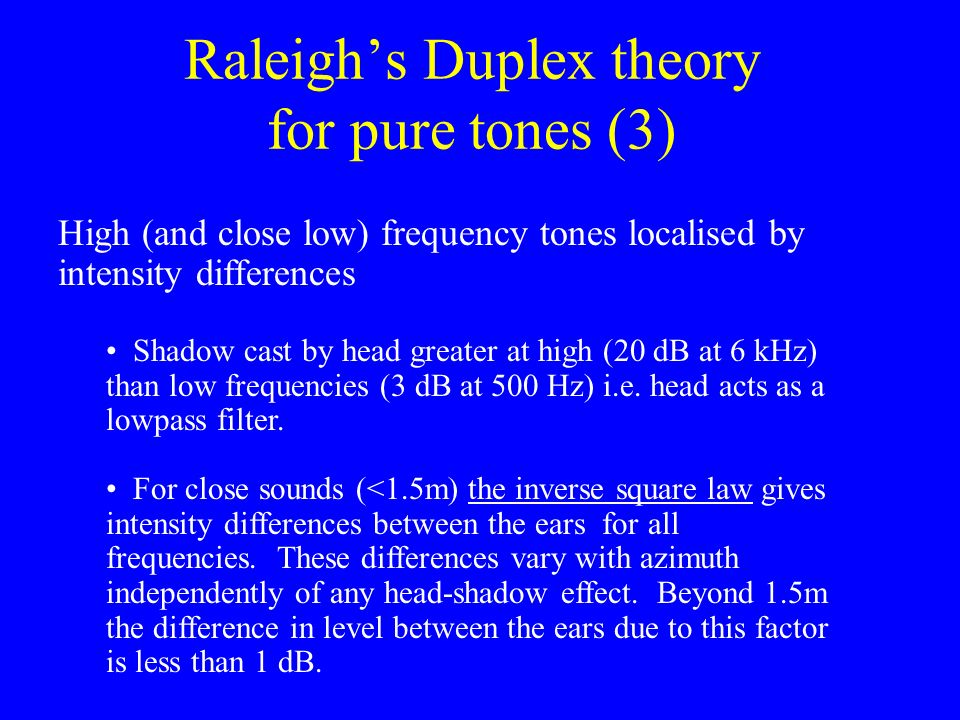 Raleigh's Duplex theory for pure tones (3)