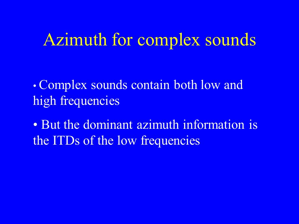 Azimuth for complex sounds