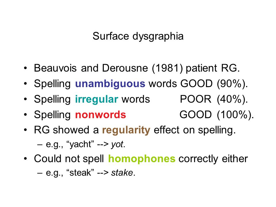 Beauvois and Derousne (1981) patient RG.