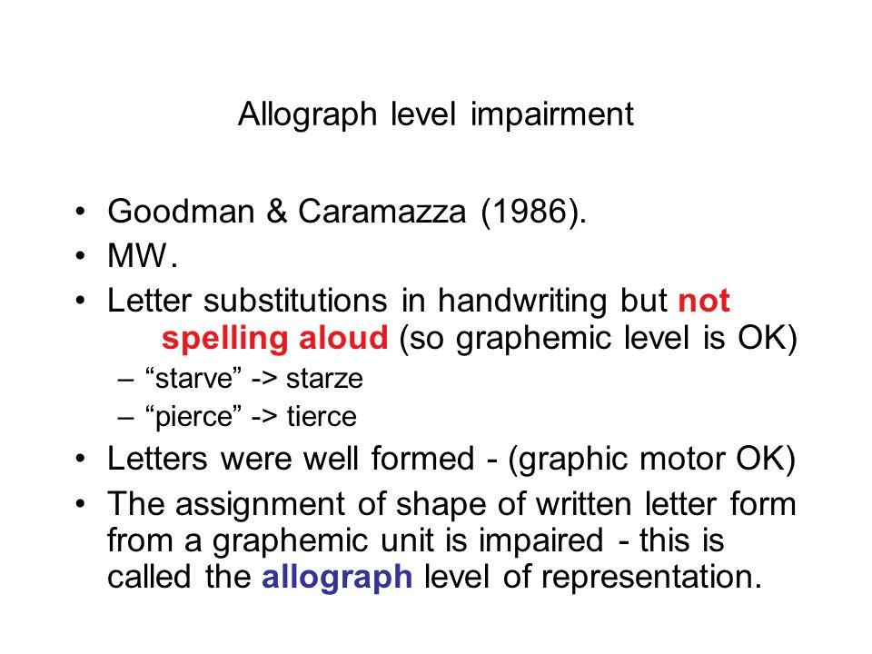 Allograph level impairment
