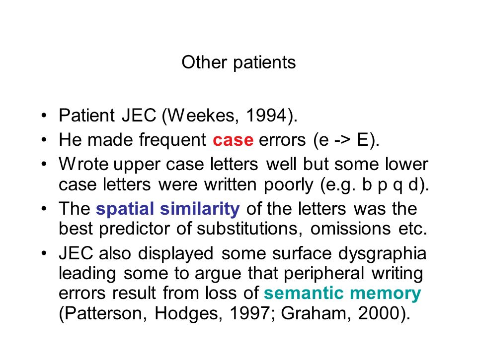 Other patients Patient JEC (Weekes, 1994). He made frequent case errors (e -> E).