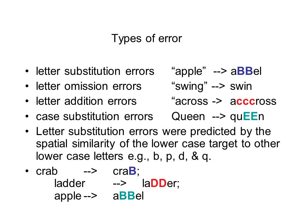 Types of error letter substitution errors apple --> aBBel. letter omission errors swing --> swin.