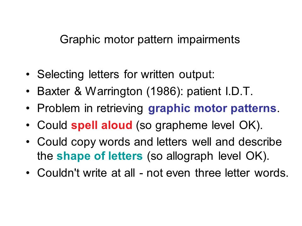 Graphic motor pattern impairments