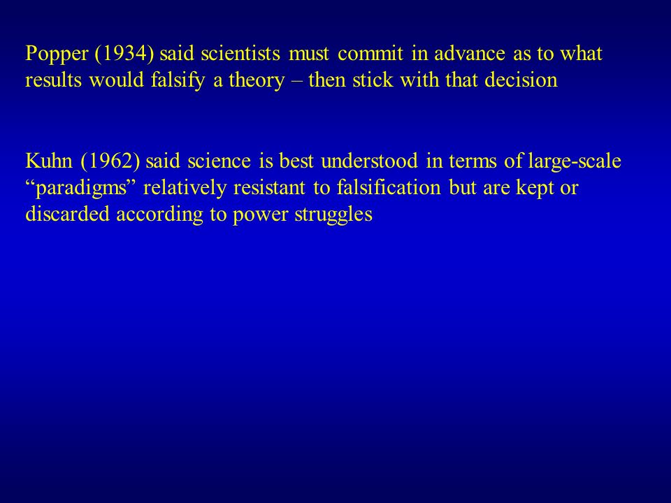 Popper (1934) said scientists must commit in advance as to what results would falsify a theory – then stick with that decision