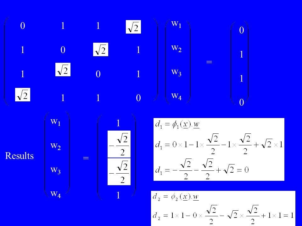 w1 w2 w3 w4 0 1 1 1 0 1 1 0 1 1 1 0 1 = w1 w2 w3 w4 1 Results =