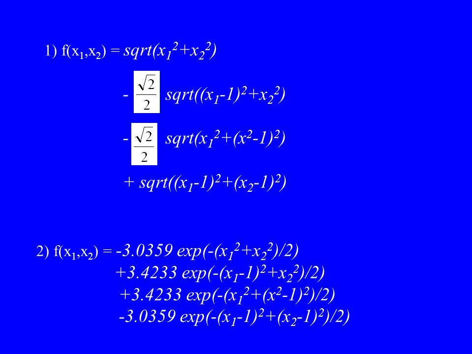 - sqrt((x1-1)2+x22) - sqrt(x12+(x2-1)2) + sqrt((x1-1)2+(x2-1)2)