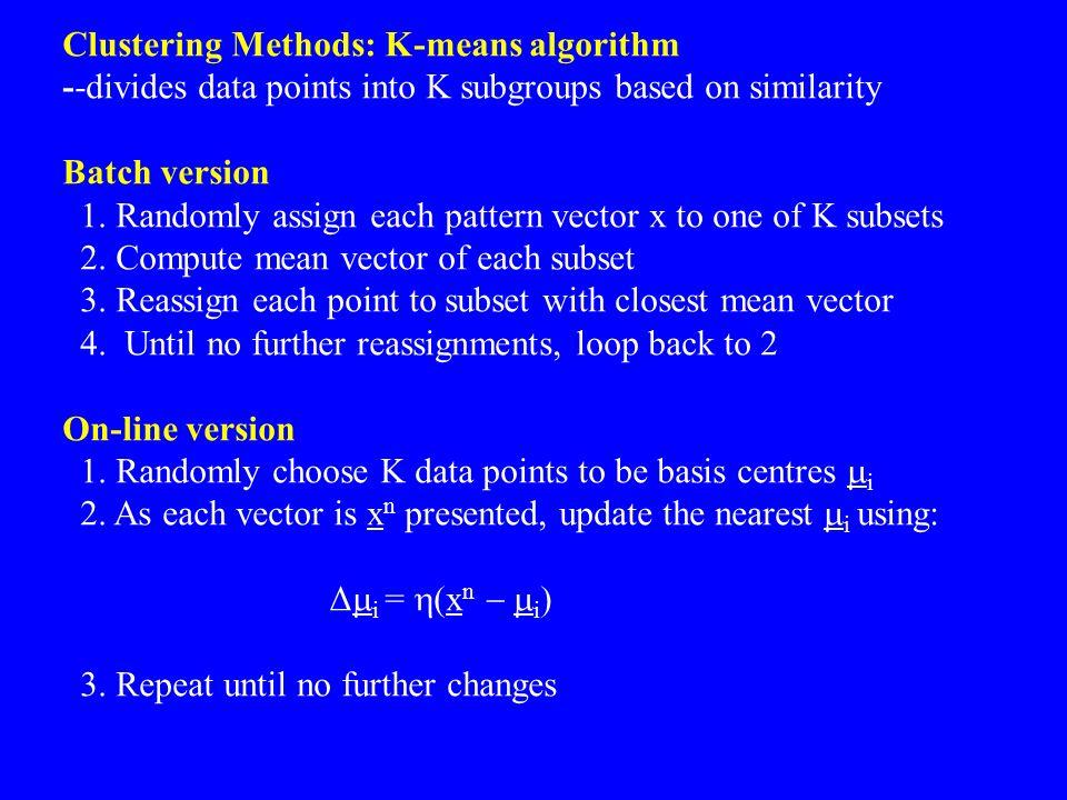 Clustering Methods: K-means algorithm
