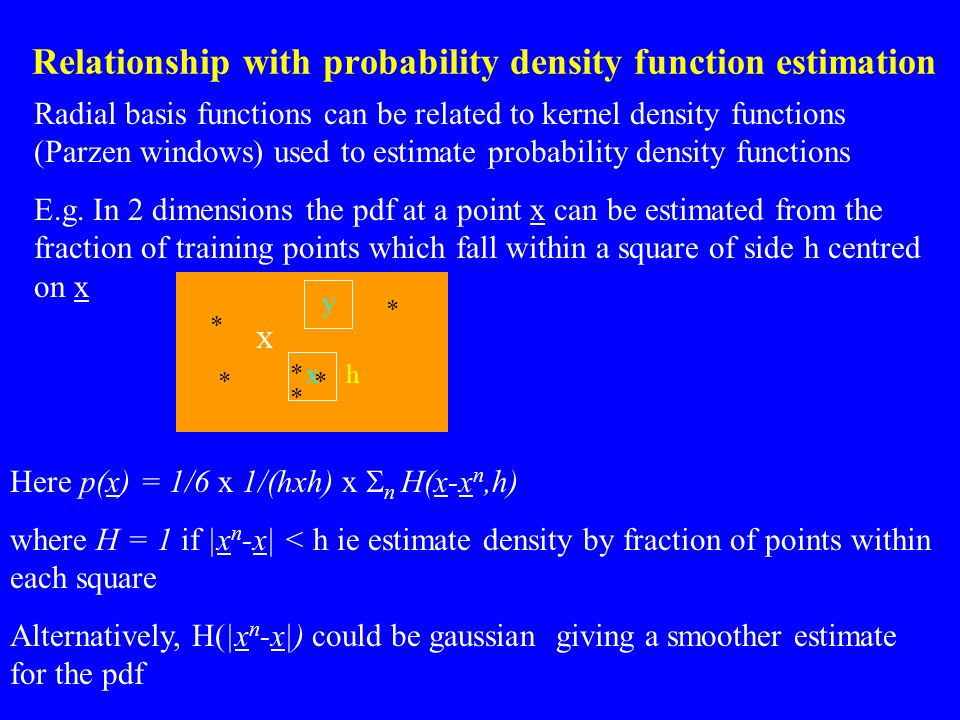 Relationship with probability density function estimation