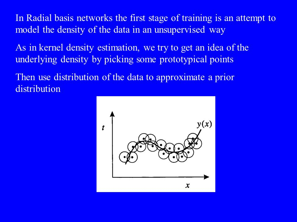 In Radial basis networks the first stage of training is an attempt to model the density of the data in an unsupervised way