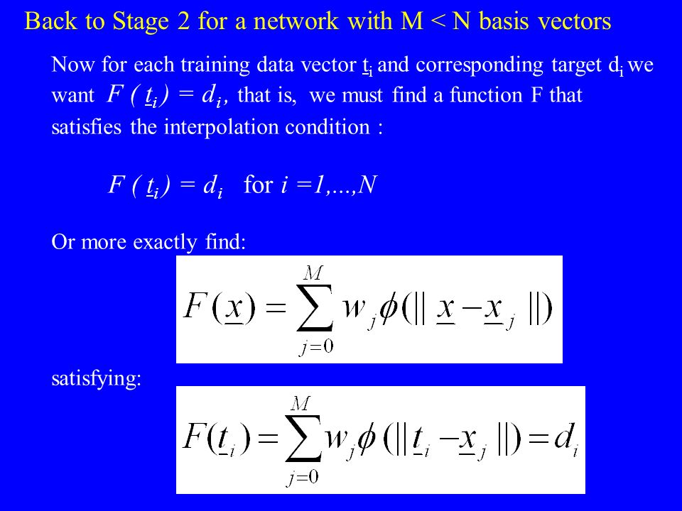 Back to Stage 2 for a network with M < N basis vectors
