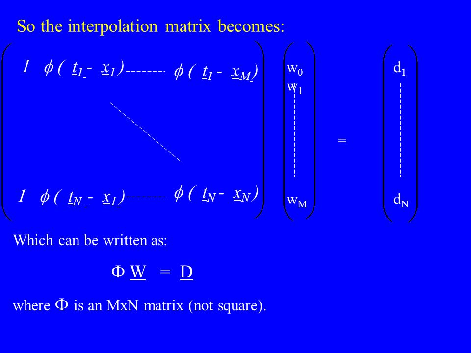 So the interpolation matrix becomes: