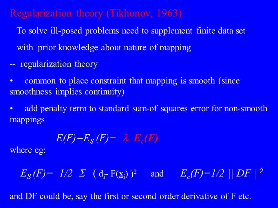 Regularization theory (Tikhonov, 1963)