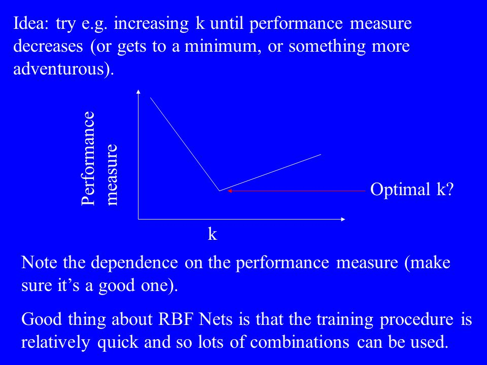 Idea: try e.g. increasing k until performance measure decreases (or gets to a minimum, or something more adventurous).