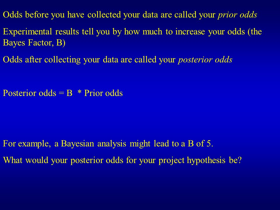 Odds before you have collected your data are called your prior odds