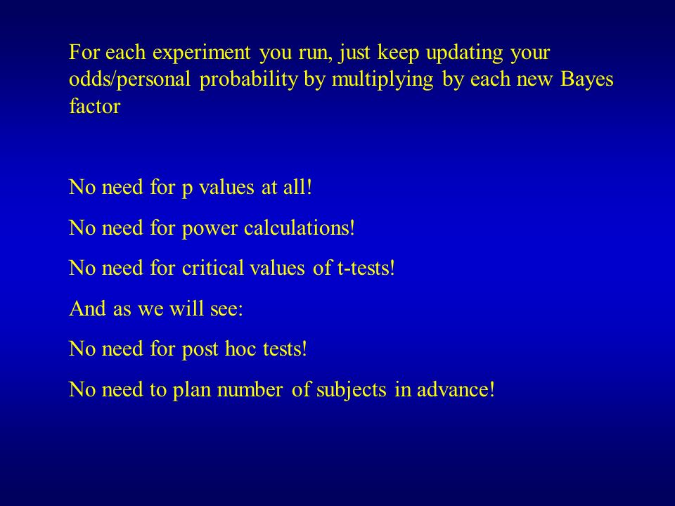 For each experiment you run, just keep updating your odds/personal probability by multiplying by each new Bayes factor