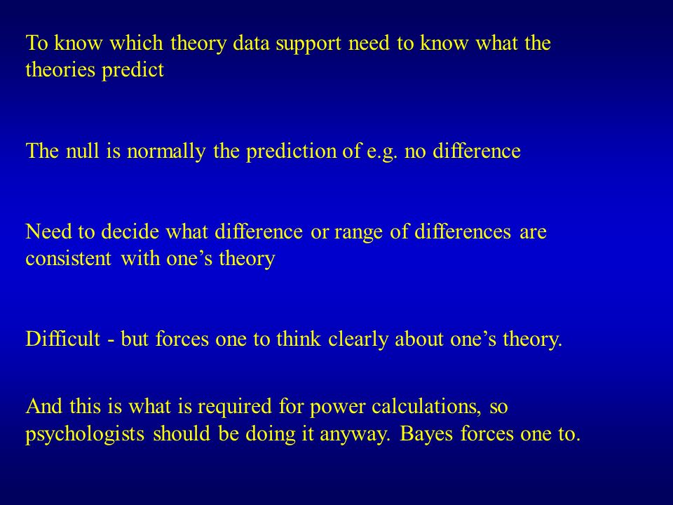 To know which theory data support need to know what the theories predict