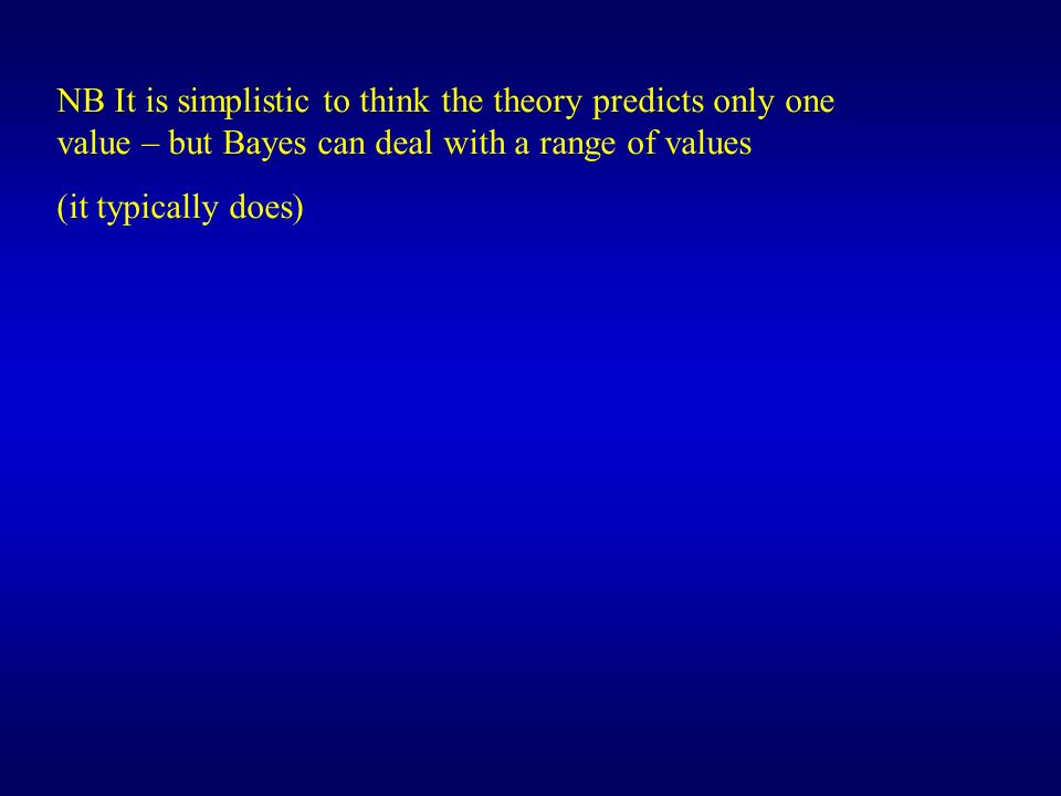 NB It is simplistic to think the theory predicts only one value – but Bayes can deal with a range of values