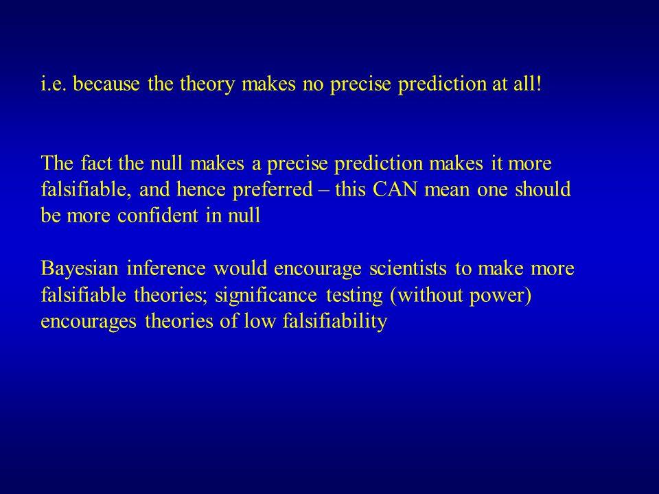 i.e. because the theory makes no precise prediction at all!