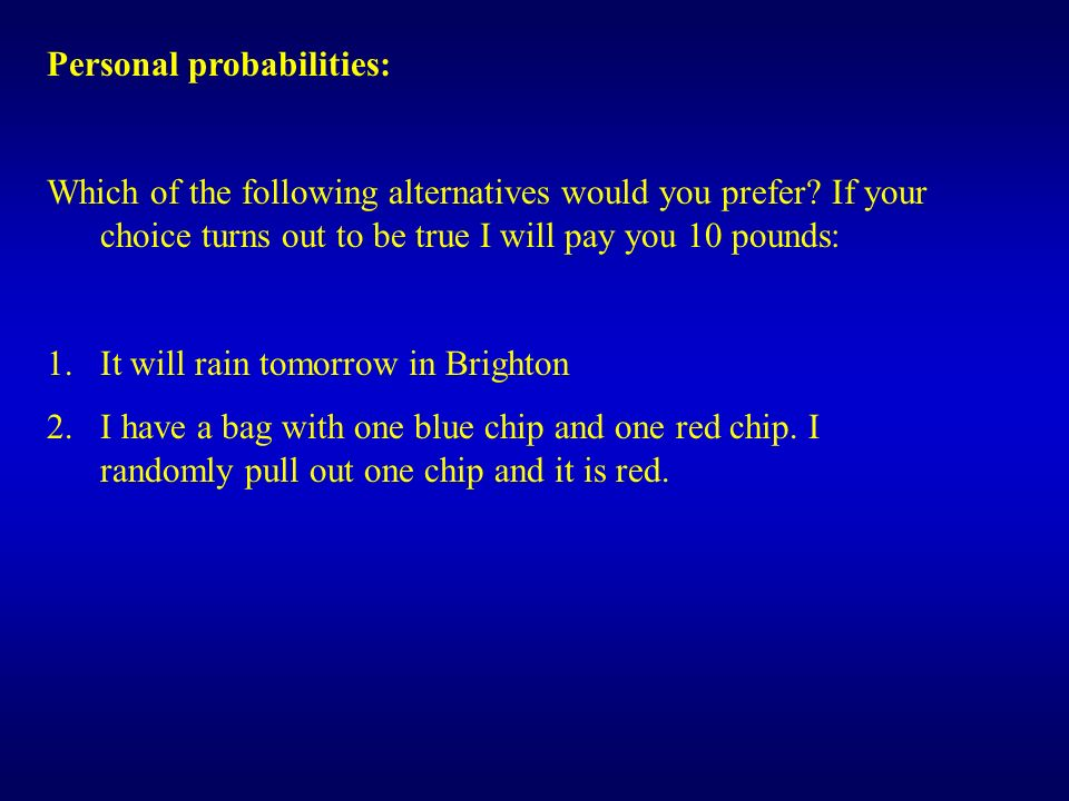 Personal probabilities: