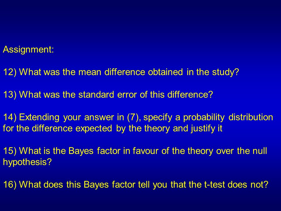 Assignment: 12) What was the mean difference obtained in the study 13) What was the standard error of this difference