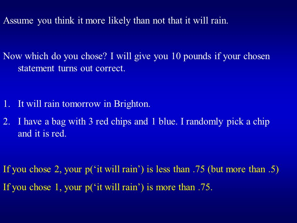 Assume you think it more likely than not that it will rain.
