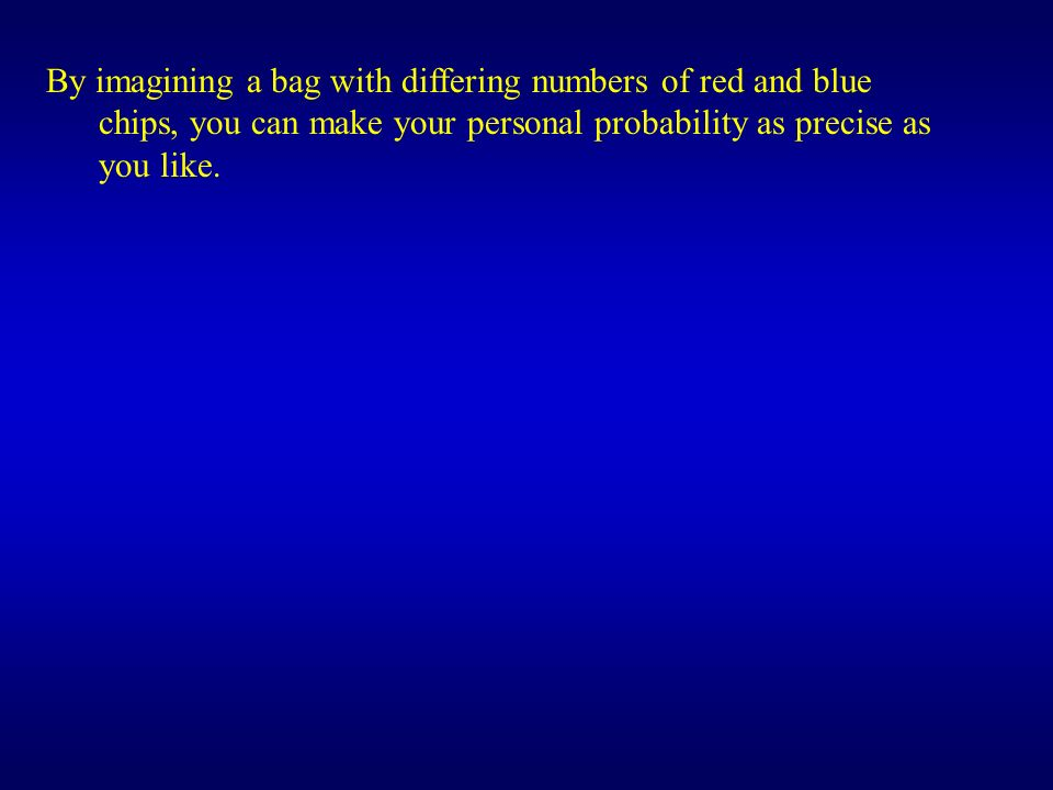 By imagining a bag with differing numbers of red and blue chips, you can make your personal probability as precise as you like.
