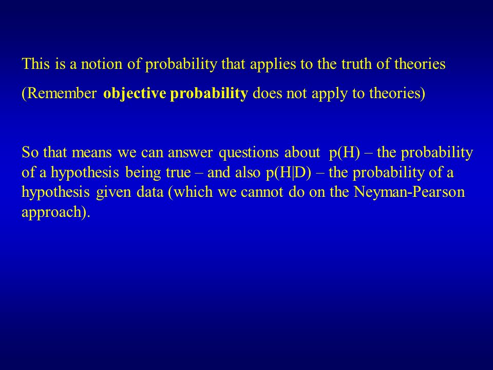 This is a notion of probability that applies to the truth of theories