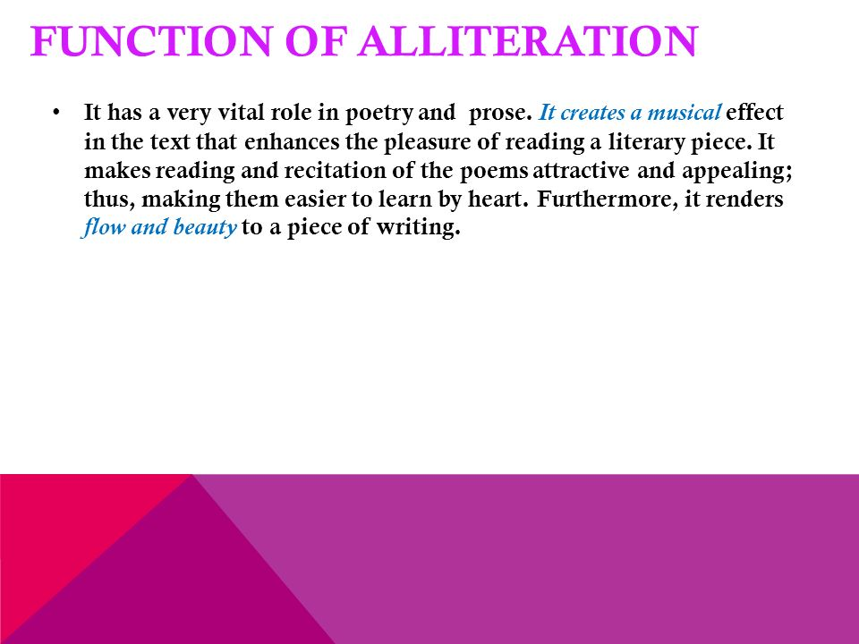 alliteration in poetry and prose Lesson plans for poetry  asked to create their own examples of alliteration as  well as find examples of alliteration in poems  contrasting poetry and prose.
