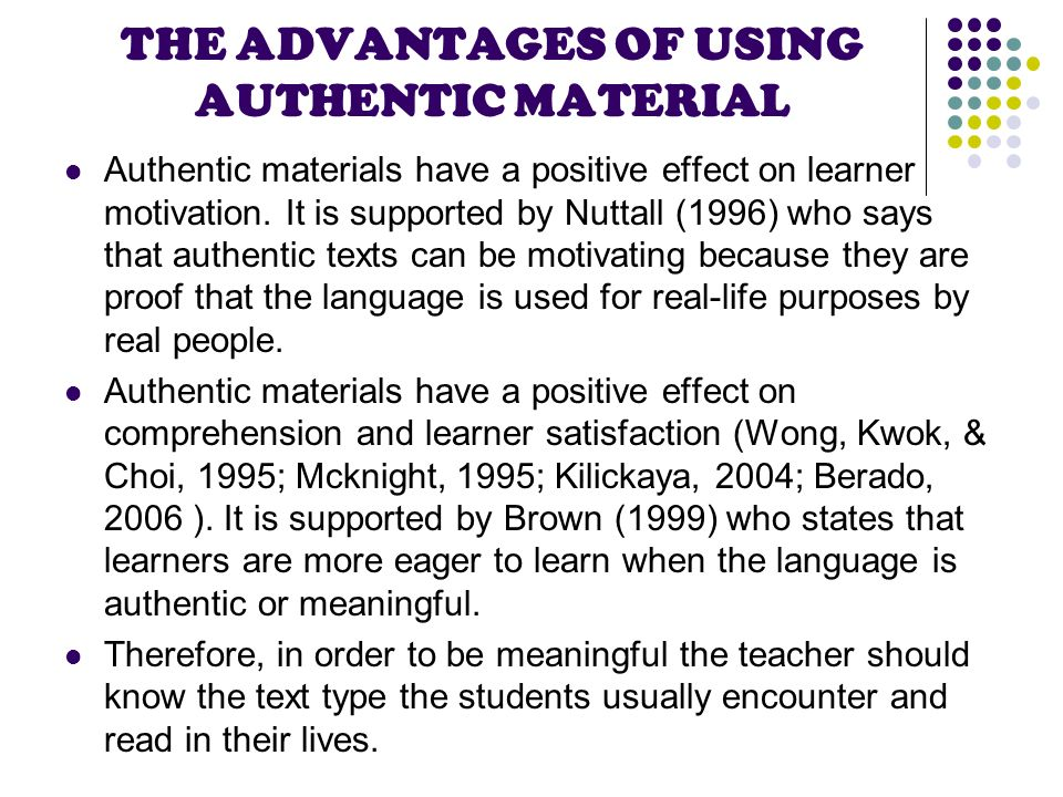 the effect of authentic materials on the motivation of efl learners essay Critical review peacock, m (1997) the effect of authentic materials on the motivation of efl learners elt journal 51(2), 144-156 language instruction has five important components: students, a teacher, materials, teaching methods, and evaluation.